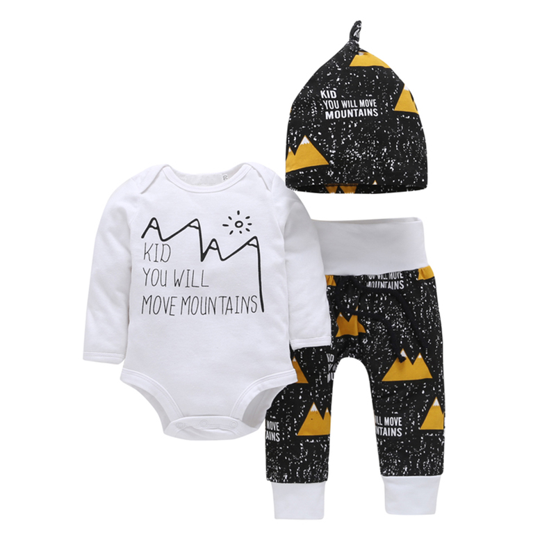 Baby Boy Long-Sleeves Rompers Toddle 3pcs Cartoon Clothes Sets Pants Hat
