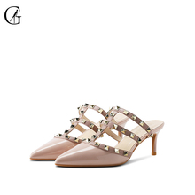 Купить с кэшбэком GOXEOU 2019 Spring and summer women's shoes with high heels slippers, patent leather rivets  Free Shiping plus size46