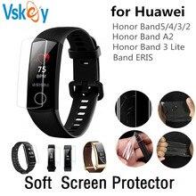 VSKEY 100pcs TPU นุ่มสำหรับ Huawei Honor Talk Band 4 5 3 2 A2 ERIS ป้องกันหน้าจอสมาร์ทนาฬิกาป้องกันฟิล์ม