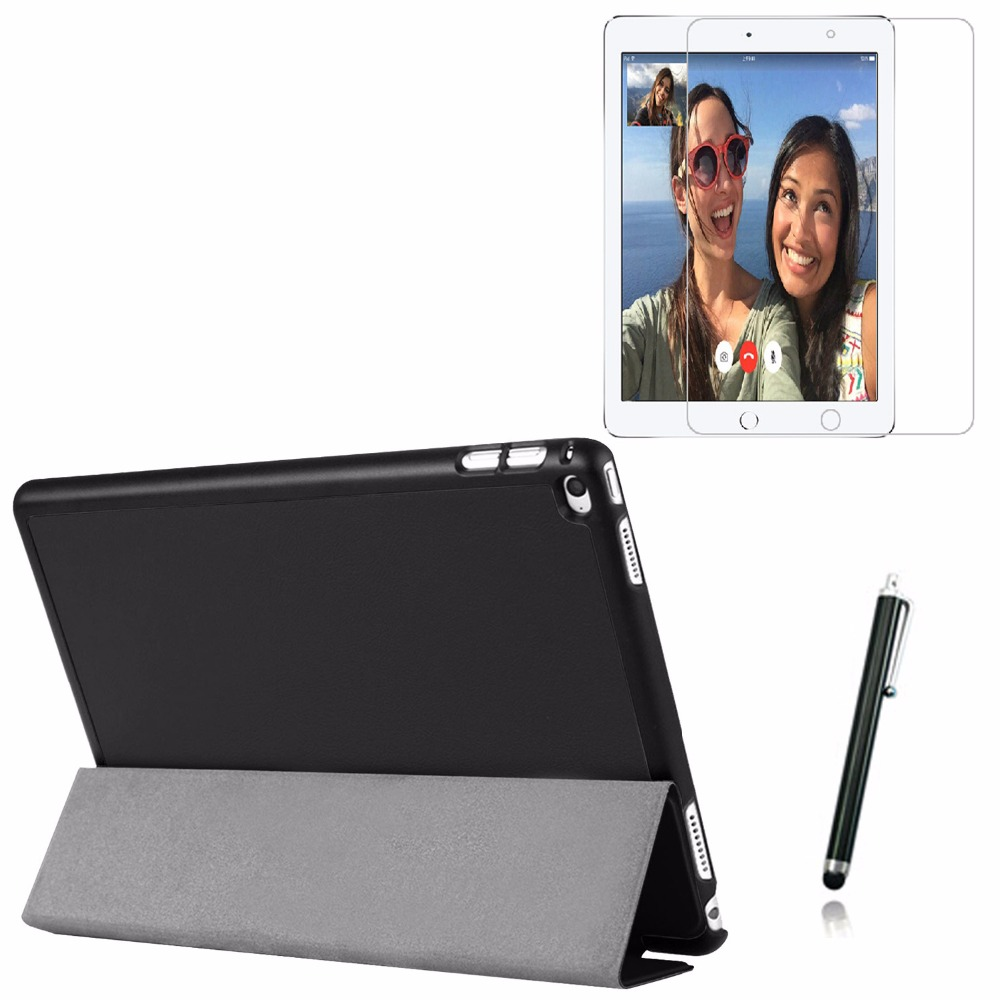 3in1 Ultra Thin Slim Magnetic Folio Stand Leather Case Smart  Sleeve Cover +1x Film + Stylus For Apple iPad Pro 12.9 2015 12.9 surehin nice smart leather case for apple ipad pro 12 9 cover case sleeve fit 1 2g 2015 2017 year thin magnetic transparent back
