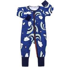 2019 Baby Rompers 95% Cotton Unisex Cartoon Blue Cloud Boy Girls Long Sleeve Summer Jumpsuit Toddler Cute Clothes