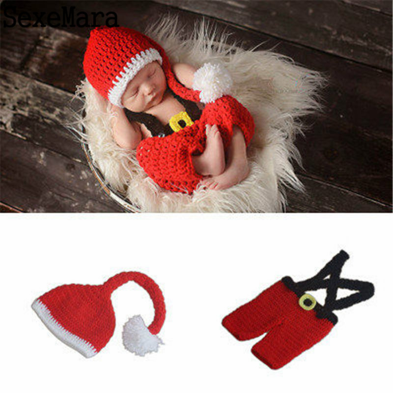 Newborn Baby Christmas Santa Knitted Crochet Photo Photography Prop Lovely Hats Costume Outfits Toddler Hot Sale 0-6M Childrens