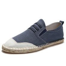 Summer Black Grey Bule Male Casual Canvas Hemp Insole Fisherman Light Shoes Ethnic Style Men Espadrille Flats Shoes цена 2017