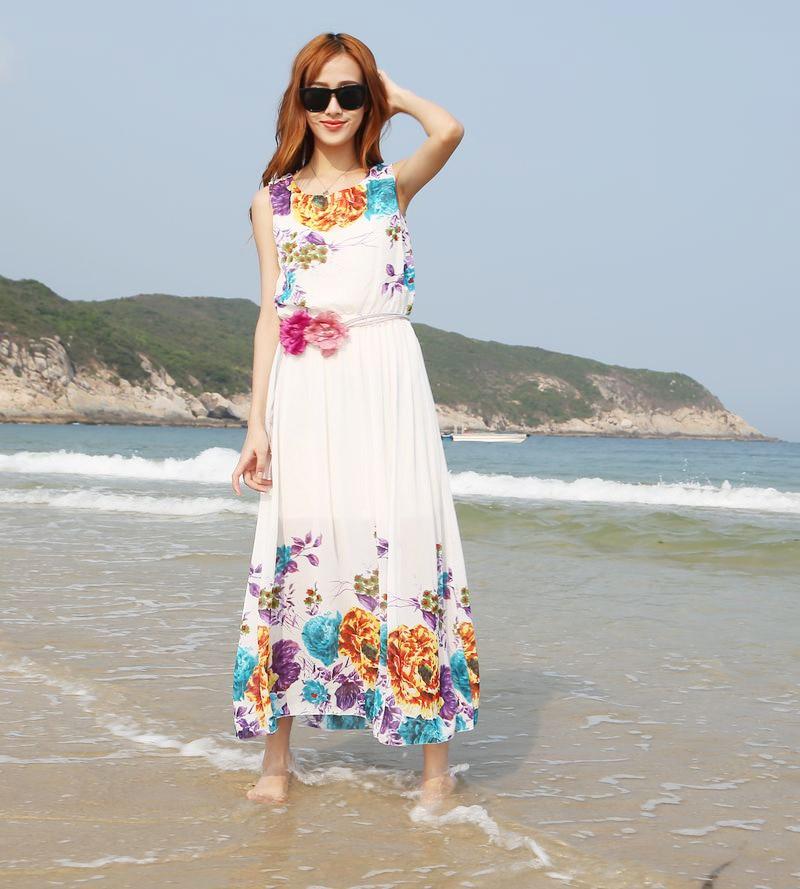 Summer Dress 2015 Women Dress Chiffon Beach Party Long -1845