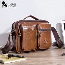 Men's Business Briefcase Genuine Shoulder Leather Bag Men Messenger Handbag Casual Crossbody Bag Male Large Capacity Travel Tote недорого