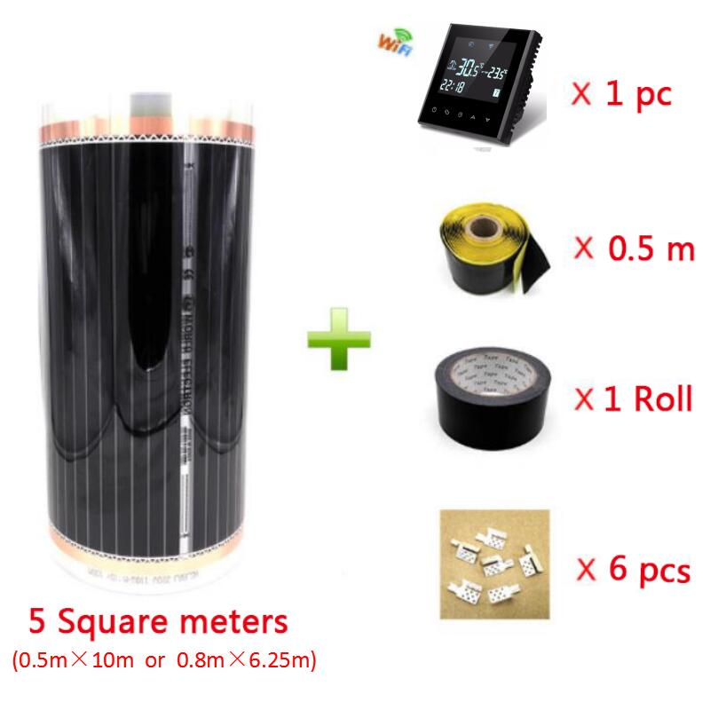 5m2 New Infrared Carbon Fiber Warm Floor Heating Film Set Including WiFi Thermostat, Clamps, Insulation Pastes And Tape