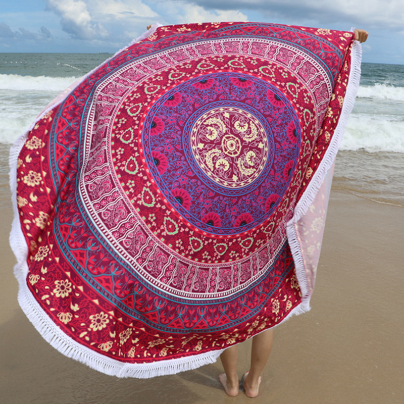 Microfiber 145cm Round BeachTowel with Tassels Bohemia Printed Towels for Adults BB55
