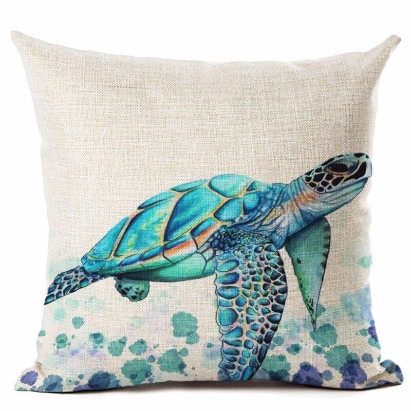 Style océan aquarelle mer tortue jeter oreiller Housse de coussin décor à la maison imprimé lin carré décor à la maison taie d'oreiller Housse