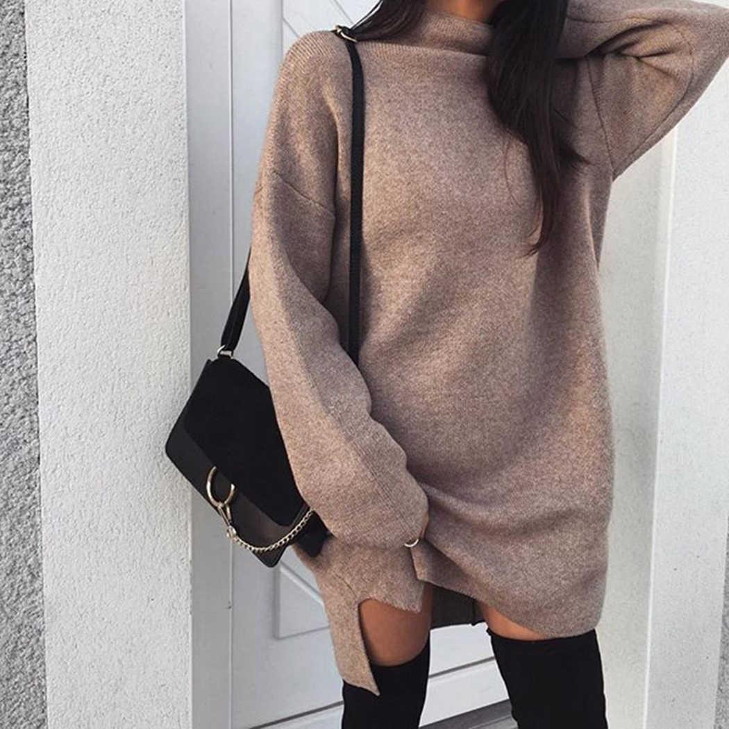 62a7ffec991 ... Winter Turtleneck Sweater Dress Warm Jumper Autumn Women Long Sleeve  Knitted Dress Vestido Ladies Baggy Loose ...