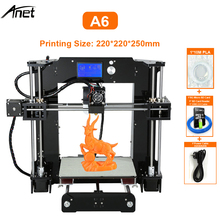 2019 New Anet A6 3D Printer 12864 LCD High Precision Offline Printing Desk 3D DIY Kit Printer 200*200*240mm highest printing precision anet a3s 3d printer aluminum composite panel layer resolution 0 1mm 3d printer with 1 75mm filament