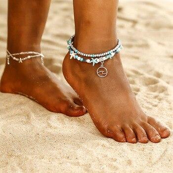 SEVENSTONE Natural Store 2PCS Boho Creative Double-footlet Starfish Rice Beads Enkelbandje Yoga Beach Summer Anklets for Woman 2
