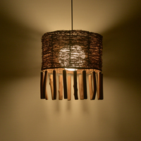 Tearoom Rattan Lamp Creative Cafe Restaurant Rattan Brass Lamp