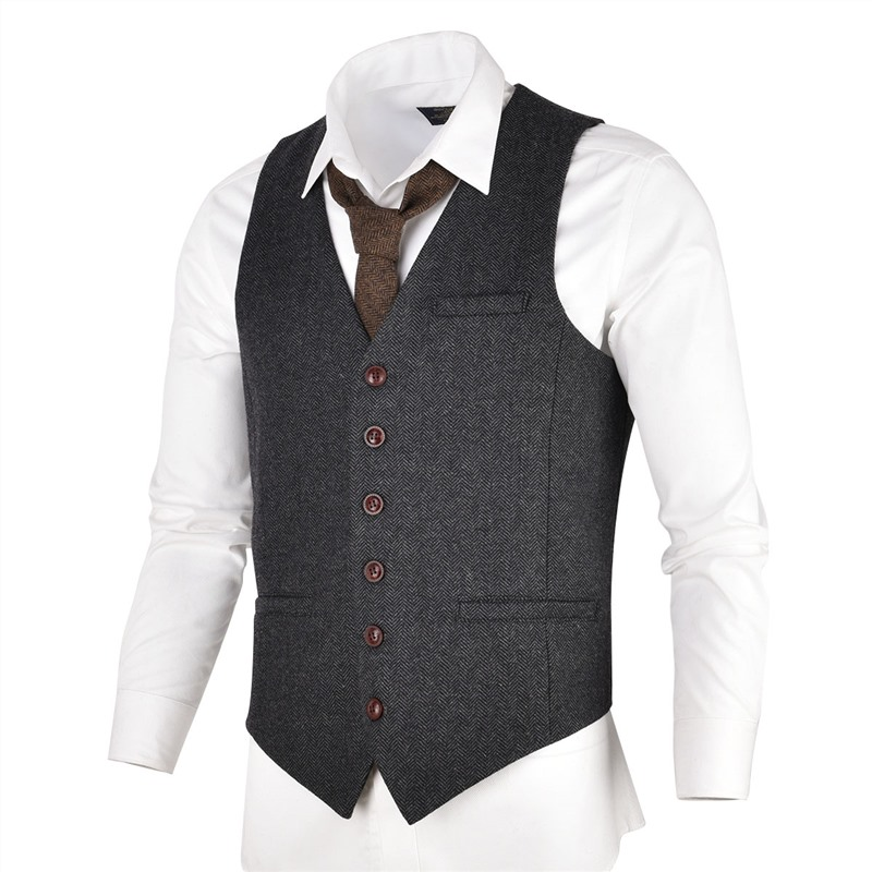 VOBOOM Grey Black Tweed Mens Vest Suit Slim Fit Wool Blend Single Breasted Herringbone Waistcoat Men Waist Coat For Man 007