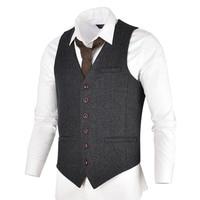 VOBOOM Grey Black Tweed Mens Vest Suit Slim Fit Wool Blend Single Breasted Herringbone Waistcoat Men Waist Coat for Man 007