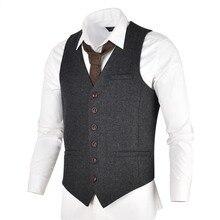 VOBOOM Grey Black Tweed Mens Vest Suit Slim Fit Wool Blend Single Breasted Herri