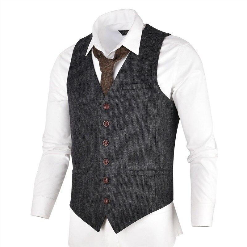 VOBOOM gris noir Tweed hommes gilet costume Slim Fit laine mélange simple boutonnage chevrons gilet hommes taille manteau pour homme 007