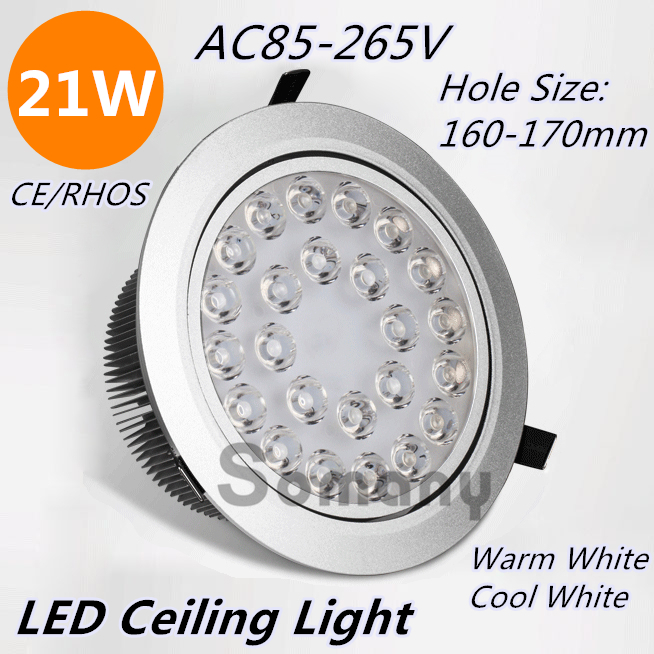 ФОТО HOT Wholesale 2PCS/Lot 21W Led Ceiling Light Recessed Mounted Aluminum Warm/Cool White AC85-265V for Modern Commercial Use