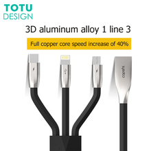 TOTU 3 pack fast charging cable for iPhone X 8 USB Type-c Type C cable, Type-c Micro1 drag 3 data cable for Android phones eureka style c bags 3 pack generic