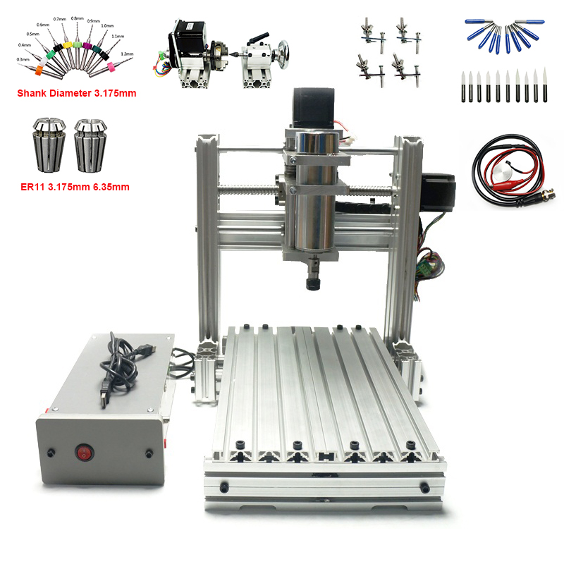 3 4 axis DIY mini cnc router machine 3020 USB with free engraving cutters collet drilling tools clamps3 4 axis DIY mini cnc router machine 3020 USB with free engraving cutters collet drilling tools clamps