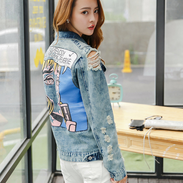 2dd4860c6a386 2018 Ripped Denim Jacket Women Loose Style Hole Design Colored Beauty Red  Lips Print Jeans Jackets Coats Outerwear Casual Jacket