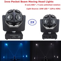 2Pcs/Lot Eyourlife Inno Pocket Beam Moving Head Lights 12X10W RGBW 4IN1 Professional Moving Head Stage Lights Unique Design
