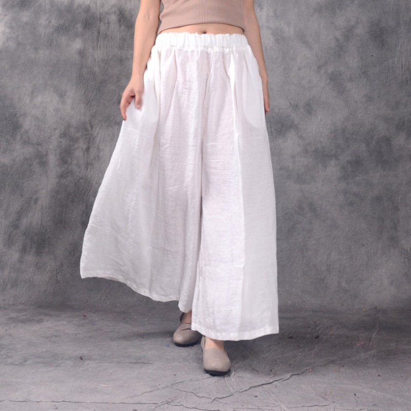 Plus Size Loose   Pants   Women Spring Summer Trousers High Waist Cotton Linen   Wide     Leg     Pants
