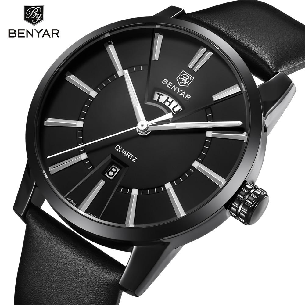 лучшая цена BENYAR Mens Watches Top Brand Luxury Fashion Watch Men Double calendar Leather Quartz-watch Waterproof Male Clock Relogio