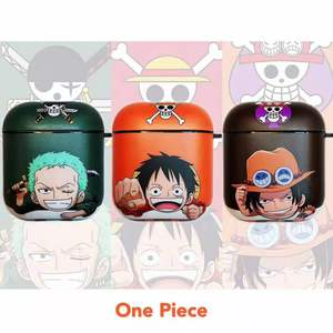 Image 2 - Japan Anime Cartoon One Piece Luffy Zoro Wireless Bluetooth Headset Hard Cover Case For Apple AirPods 1 2 Fun smile Protect Box