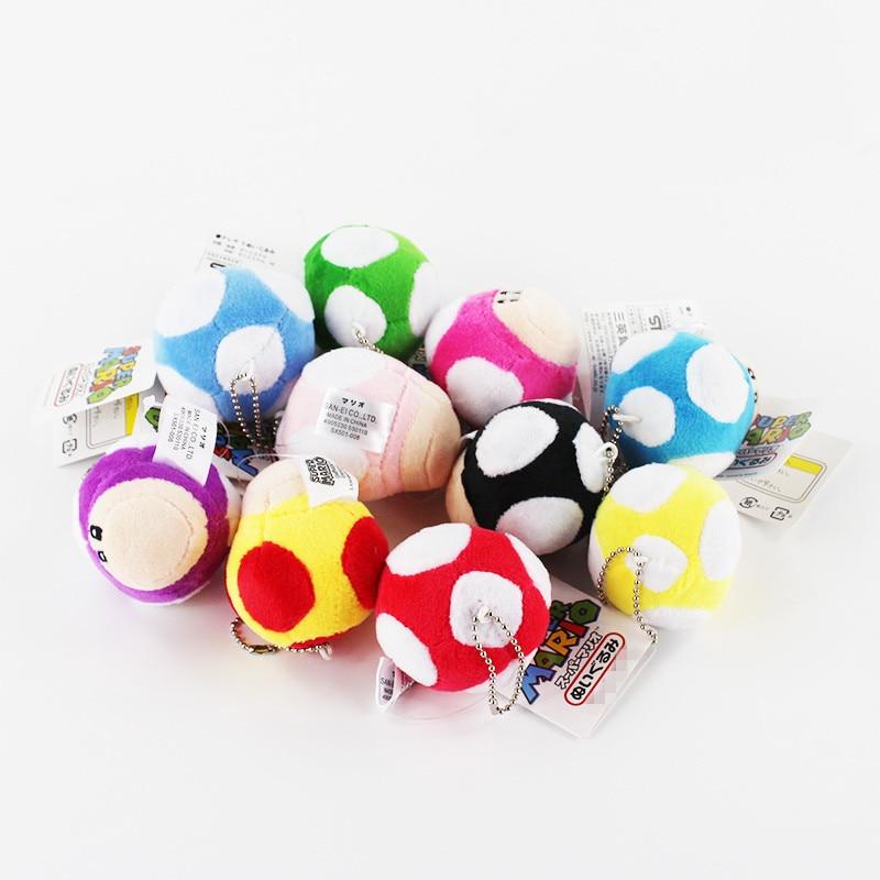 6cm 50pcs lot Super Mario Bros Mushroom Keichain Plush Toy Luigi Yoshi best gift for children
