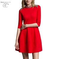 ElaCentelha Women Summer Autumn Dress 2016 Dress The Roman Posed A Word Skirt Pure Color Cotton