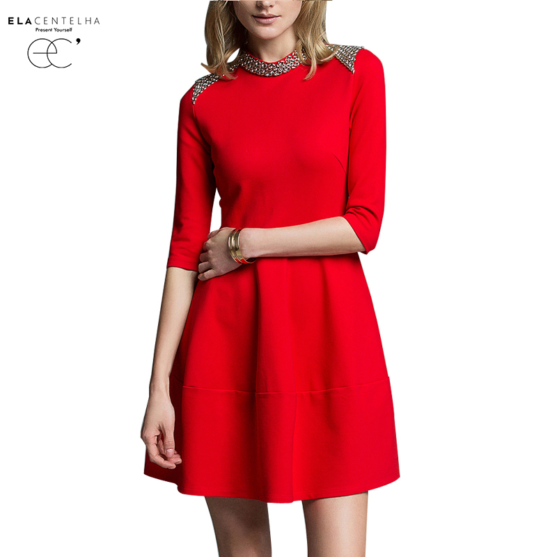 ElaCentelha Women Autumn Winter Dress 2016 New Fashion Brand Dress Half Sleeve O Neck Rivet Office Work Casual Woman Dresses