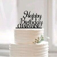 Szczęśliwy Birthday Cake Topper dla Dziecka, Spersonalizowane Birthday Cake Topper z Nazwy, 1st 30th Ciasto Topper, Akryl Dekoracje urodzinowe