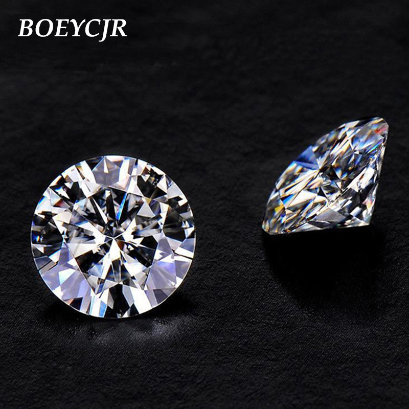 BOEYCJR 1ct D Color Round Brilliant Cut 6.5mm Moissanite Loose Stone VVS1 Excellent Cut 3E Grade Jewelry Making Stone Engagement