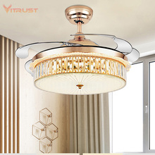42 #8243 Led Invisible Ceiling Fans with Light Decorative Retractable Blade Modern Folding Fan Lamp Remote Control Hanging Lights Hom cheap VITRUST CN(Origin) 10kg None Ceiling Fan Lamp Ceiling Fan Light ROHS 42 inch 3 years STAINLESS STEEL LED Bulbs Wedge