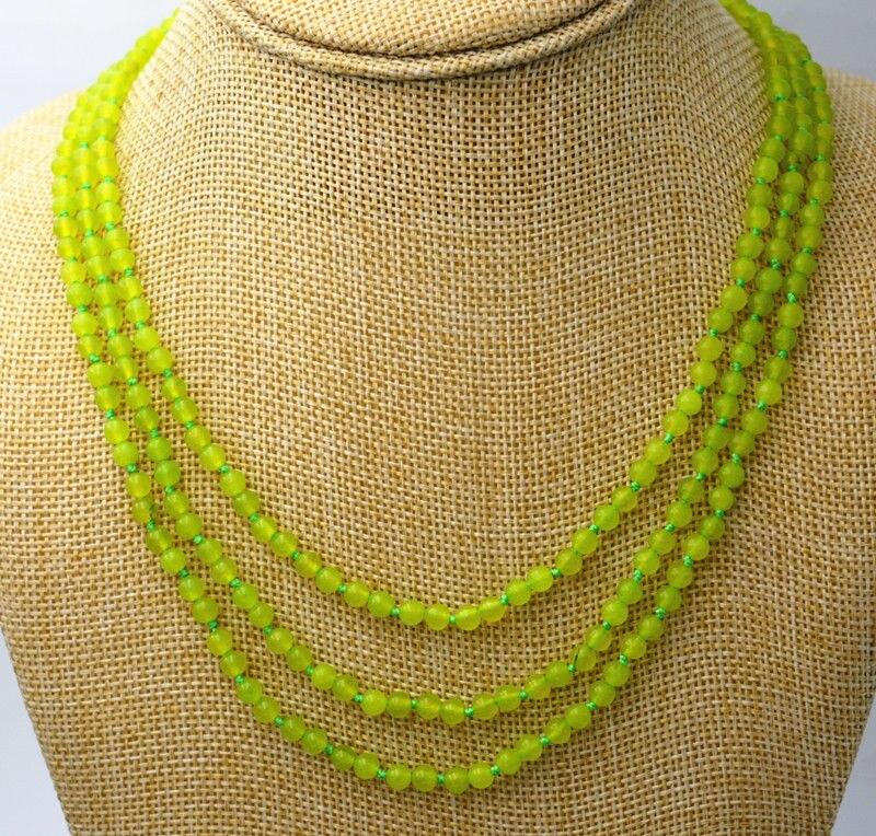 LIVRAISON GRATUITE >>>@@ Nouvelle Mode 3 rangées de 4mm vert péridot perles Collier 17-19