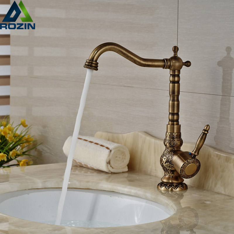 Antique Brass Basin Faucets Bathroom Faucet Basin Carving Tap One Handle Rotate Hot and Cold Water Mixer Taps CraneAntique Brass Basin Faucets Bathroom Faucet Basin Carving Tap One Handle Rotate Hot and Cold Water Mixer Taps Crane