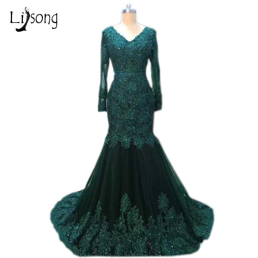 Abiye Dark Green Mermaid Evening Dresses Full Sleeves Lace Appliques  Crystal Evening Gowns Plus Size Vestidos d6bda3365d24
