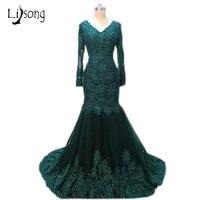 העבאיה כהה ירוק בת ים ערב מלא שרוולי תחרת אפליקציות קריסטל שמלות ערב פלוס Vestidos De Formatura