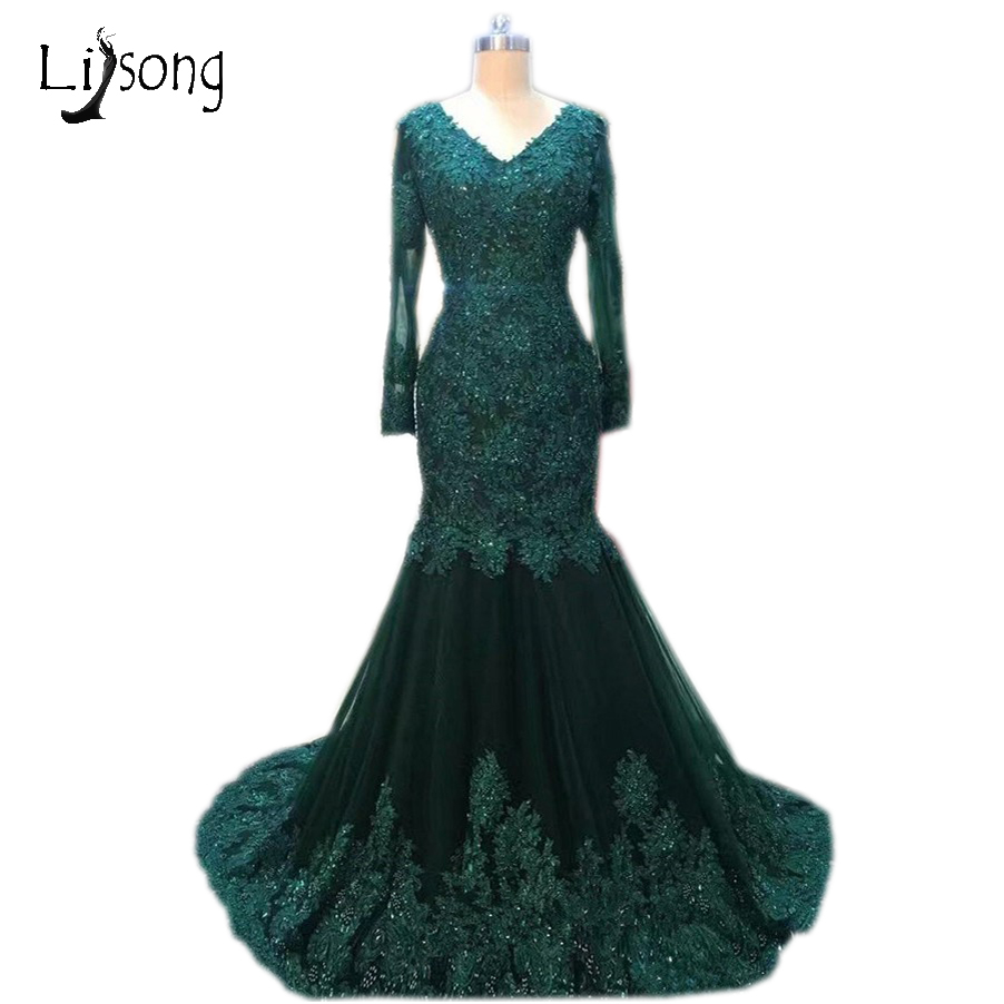 Abiye Dark Green Mermaid Evening Dresses Full Sleeves Lace Appliques ...