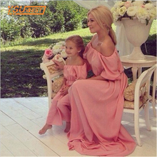 Matching Mother Daughter Clothes New Mother Daughter Dresses Bohemia Maxi Dress Beach long Dress Strapless Family Look Clothes