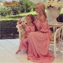 Одинаковая одежда для мамы и дочки новинка платья для мамы и дочки Богемия Макси платье пляжное длинное платье без бретелек одежда для всей семьи