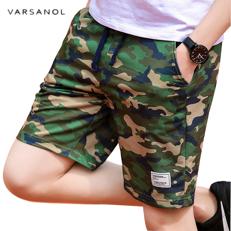Varsanol Camouflage Shorts Mens Military Style Casual Shorts Men's Summer Beach Shorts New Fashion Streetwear Elastic Waist 920 color block elastic waist selvedge embellished basketball shorts