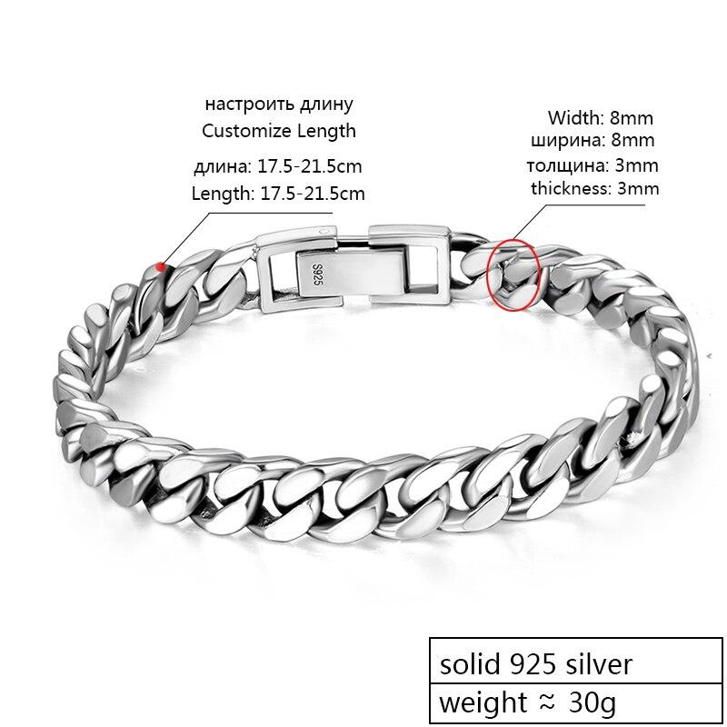 ZABRA Real 925 Sterling Silver Bracelet Mans 8mm Width 18.5 Length Rock Fashion Chain Bracelets For Man Jewelry Gift - 2
