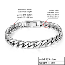 Beautiful and Real 925 Sterling Silver Bracelet for Men's 8 mm