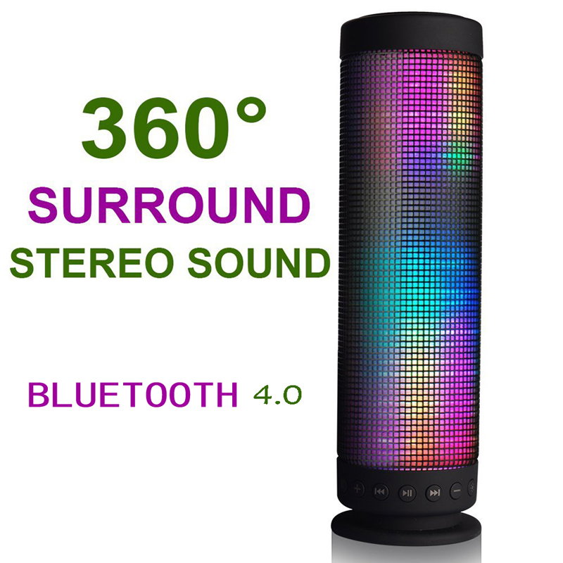 360 Degree USB DC 5V Surround Stereo Sound Portable Recharging Wireless Sound LED lights Bluetooth Speaker Free Shipping