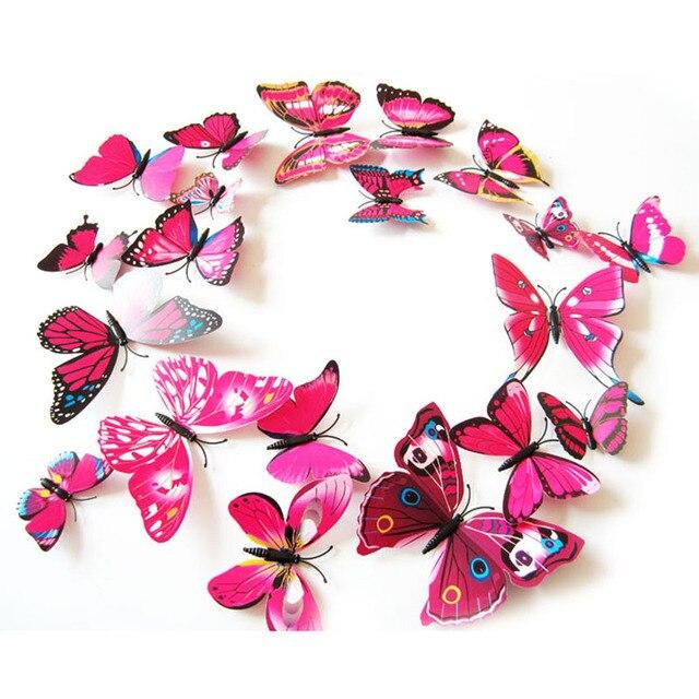 12 шт./лот 3D ПВХ бабочки настенные наклейки украшения магнит бабочки на стене DIY обои для детской комнаты украшения дома