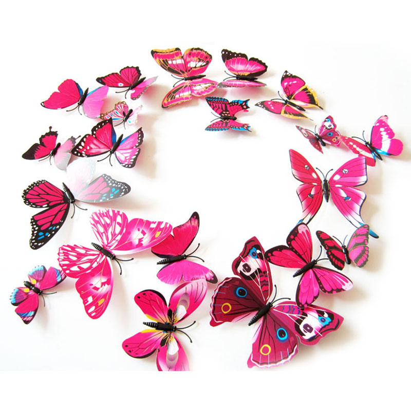 Pcslot D PVC Wall Stickers Magnet Butterflies DIY Wall Sticker - Butterfly wall decals 3dpvc d diy butterfly wall stickers home decor poster for kitchen