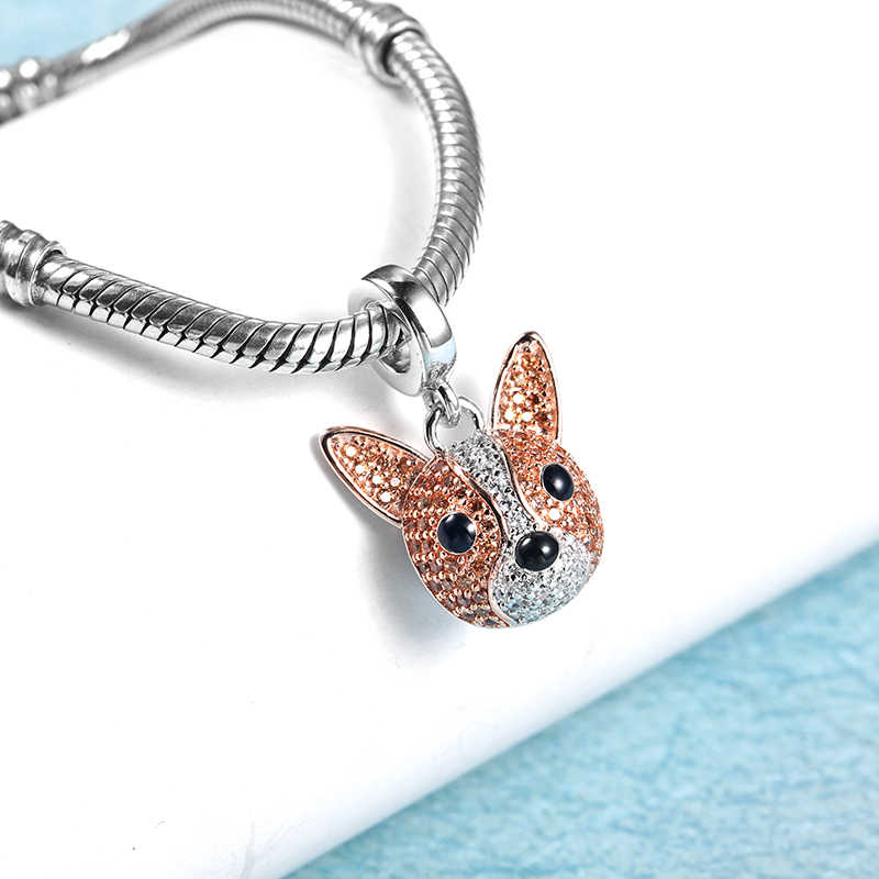 Fits Pandora Charms Bracelets Original 925 Sterling Silver Beads Dog Pendant Jewelry Making Beads Crystal Dog Charms Bracelet