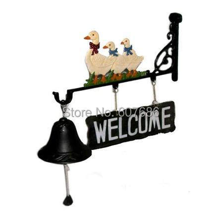 Cast Iron Dinner Bell Europe Mascot ~ Three Duck Welcome ~ Wall Mounted Hanging Garden Hand Painted Outdoor Decor Free Shipping