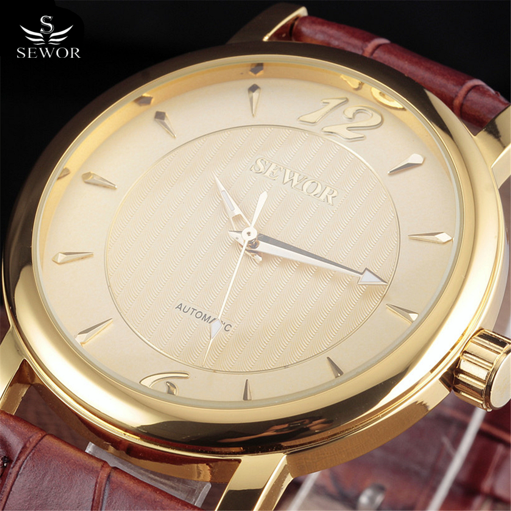 Top Brand SEWOR Tags Watch Men Luxury Gold Skeleton Hand Wind Mechanical Watches Mens Fashion Leather Wristwatches Montre